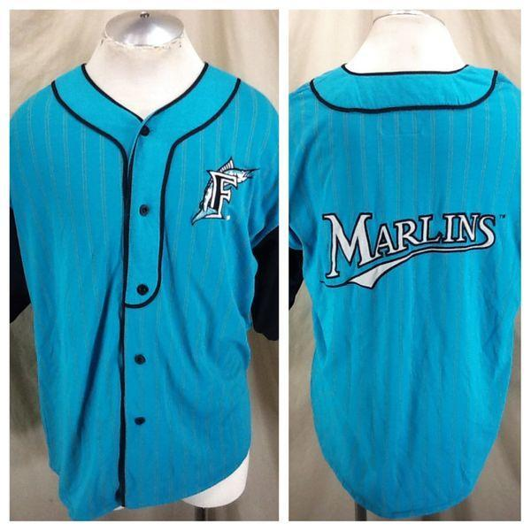 10325a549 VINTAGE 90 S STARTER FLORIDA MARLINS MLB BASEBALL (LARGE) BUTTON UP  PINSTRIPE RETRO STITCHED JERSEY. Related Items