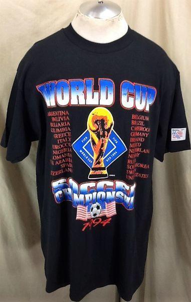 7454c304cb8 VINTAGE 1994 FIFA WORLD CUP SOCCER CHAMPIONSHIP (XL) RETRO GRAPHIC FUTBOL  SHIRT
