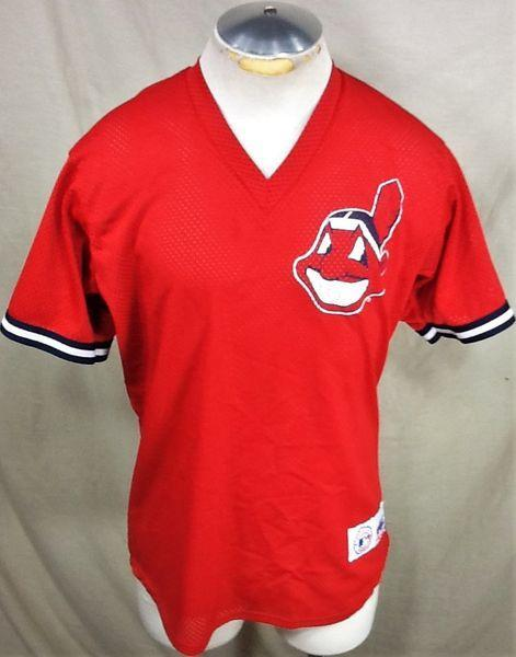 new style a350c 3c65a VINTAGE MAJESTIC CLEVELAND INDIANS (MEDIUM) PULLOVER MLB BASBALL WARM UP  JERSEY