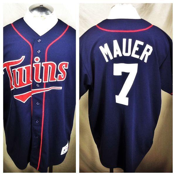 3e830fff1be VINTAGE MAJESTIC JOE MAUER MINNESOTA TWINS (LARGE) STITCHED RETRO BUTTON MLB  BASEBALL JERSEY. Related Items