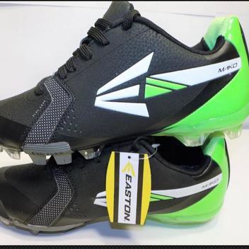 fe3914670bf9 Easton Mens Mako TPU Baseball Softball Rubber Cleats Spikes Size 6 Black  Green