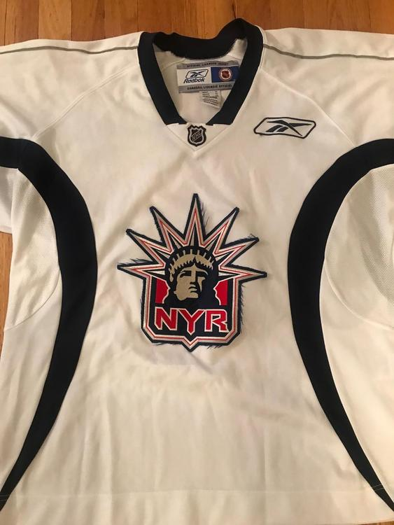 dab643914 Used Reebok Pro Stock New York Rangers White Liberty Logo Practice Jersey  Size XL