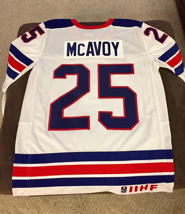 TEAM USA NIKE WORLD JUNIORS CHARLIE MCAVOY HOCKEY JERSEY - MEDIUM - SOLD 39513ddf84f