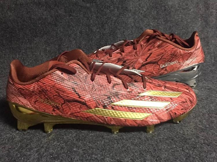 521ceb4f538 Adidas Men s Adizero 5 Star 5.0 Football Cleats AQ7704 Red Gold Silver Size  13