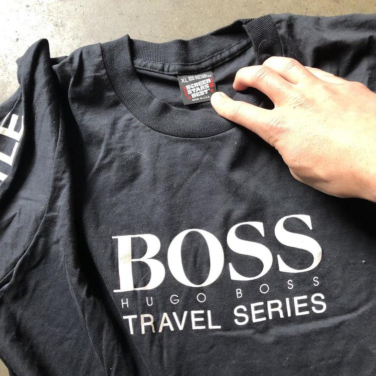 fd93e642a Mens Vintage Hugo Boss Travel Series Black Long Sleeve Graphic T Shirt Tee  Sz XL | Apparel Shirts | SidelineSwap