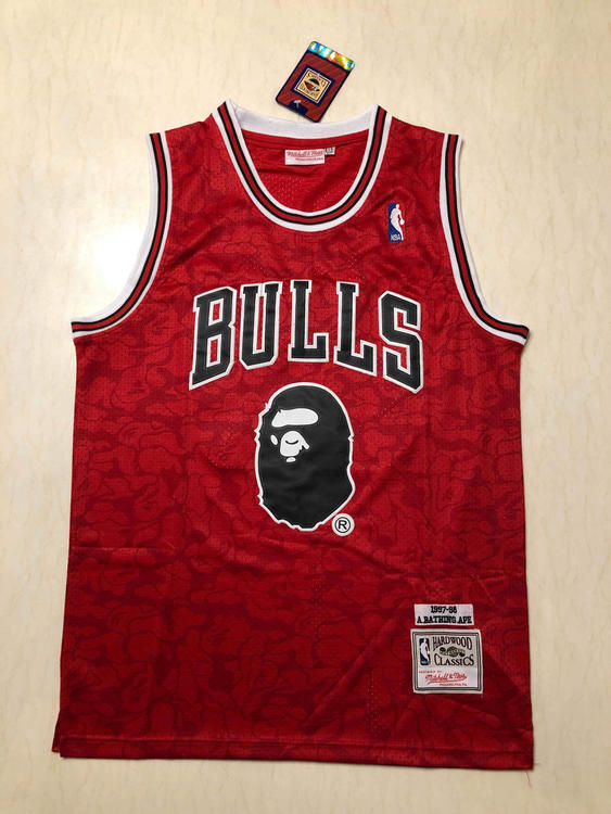 6149f71127fd Bulls Bape 93 Mitchell   Ness Fully Stitched S-2XL Sizes Available. Related  Items