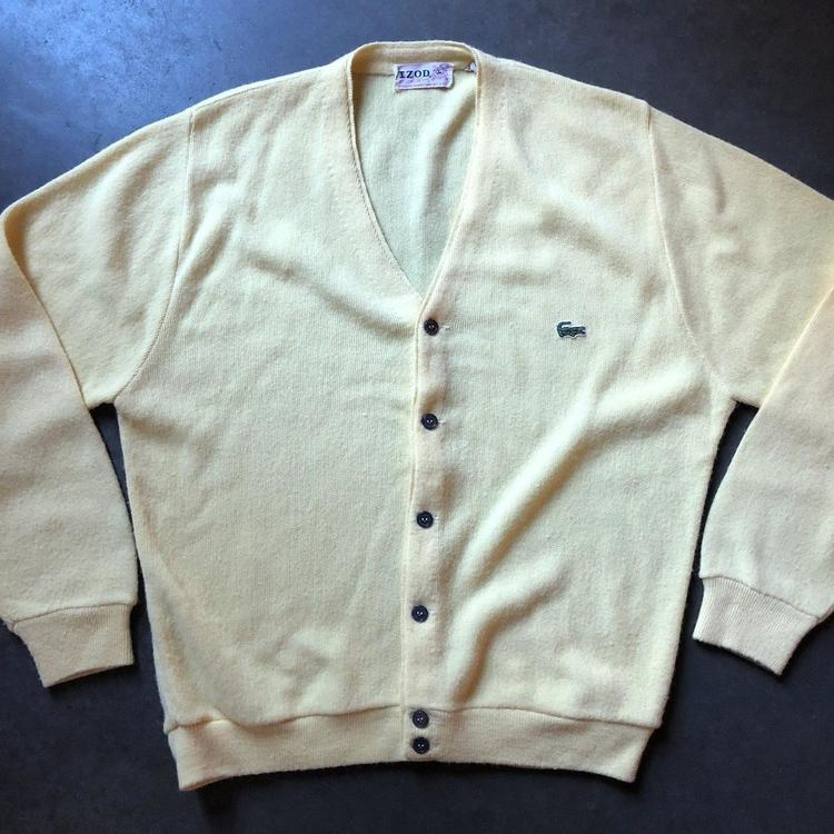 Mens Vintage 70s Izod Lacoste Usa Pastel Yellow Button Up Cardigan
