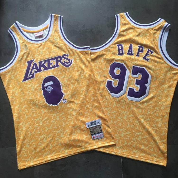 52ec25ad0118 Nike Lakers X Bape  93 NBA Jersey Fully Stitched S-2xl