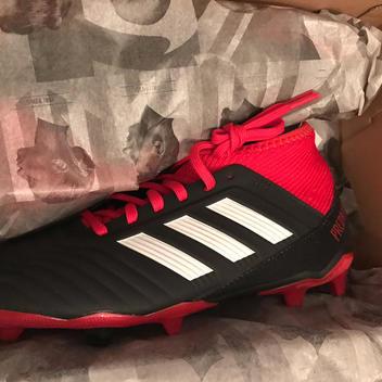 10200457033 Adidas Predator 18.3 Fg J Db2318 New Nib Black Red Youth 3.5 3.5Y Or 2 2Y