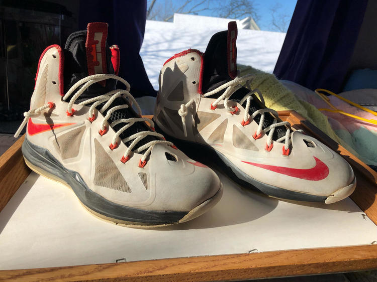 "da864bd11e9a Lebron X   10 ""Heat Home"" White   University Red Used Good For Wear-around.  Open To All Offers"
