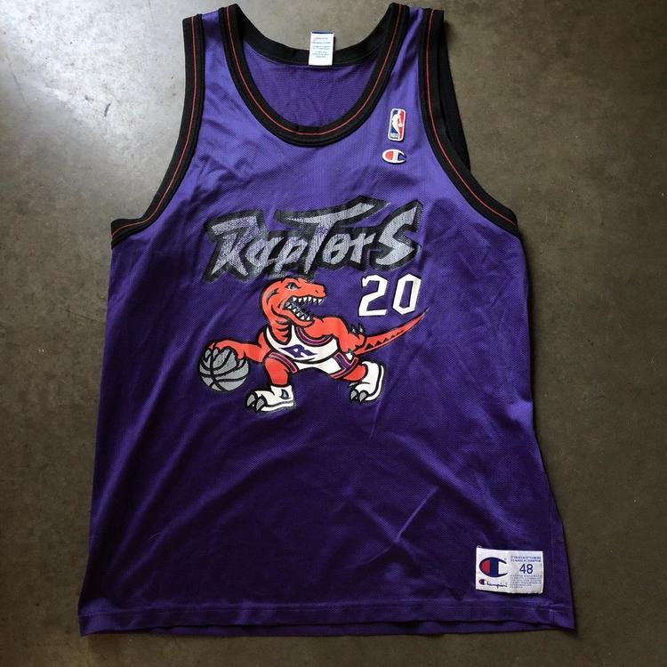 Mens Vintage 90 Champion Damon Stoudamire Purple Toronto Raptors Jersey Sz  48 XL  7c39b767f