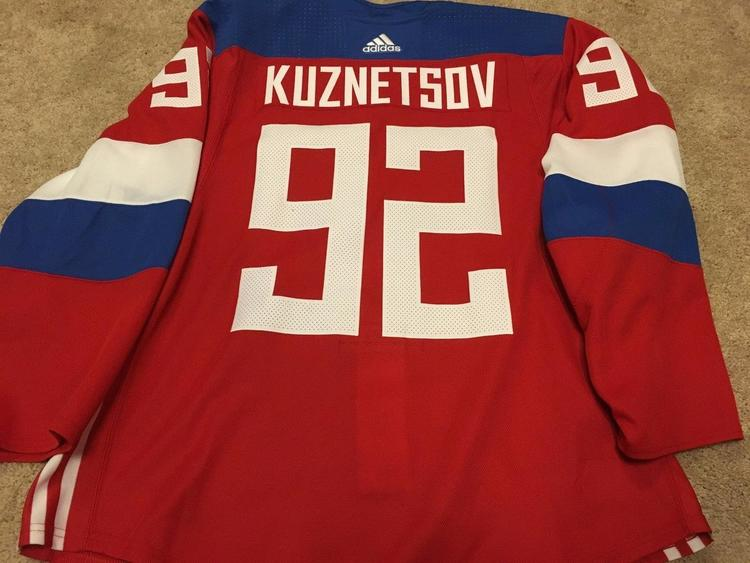 super popular 69a65 2cf66 EVGENI KUZNETSOV 2016 World Cup of Hockey Team Russia Red Game Worn Used  Jersey