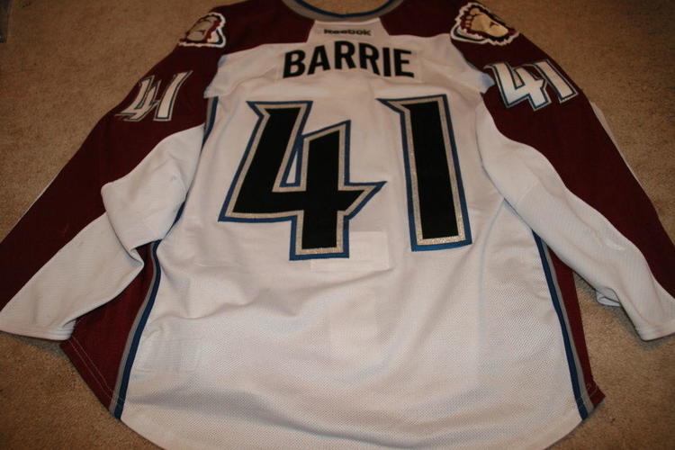 online store fa968 0e2e9 TYSON BARRIE 12'13 White ROOKIE Colorado Avalanche Game Used Worn Jersey w  COA