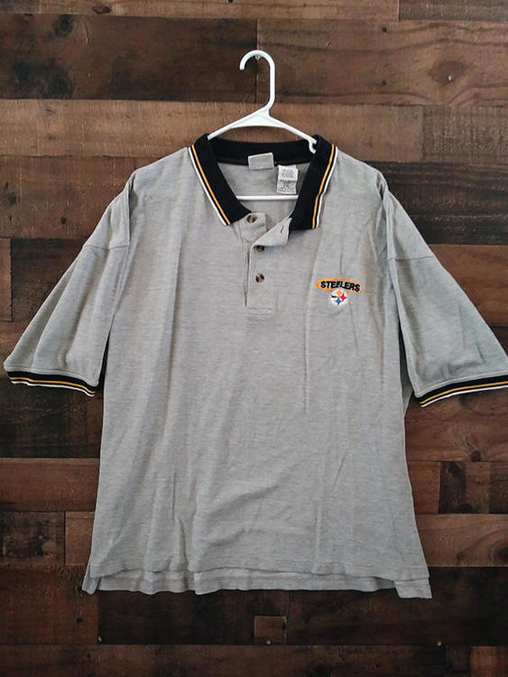 free shipping 37c99 07d0d NFL Football PITTSBURGH STEELERS Grey Black Embroidered Polo Shirt