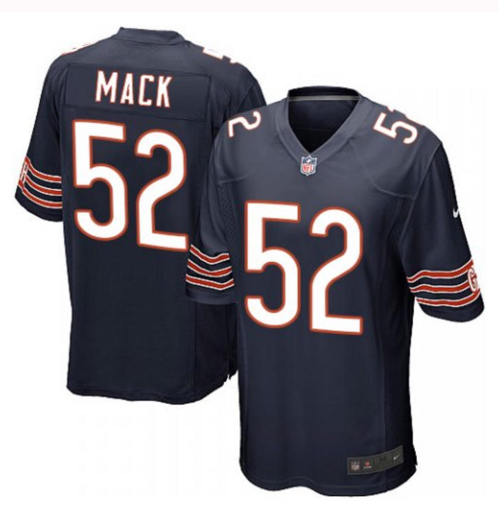 new style 22934 a984c Men's Game Khalil Mack Nike Jersey Navy Blue Home - #52 NFL Chicago Bears