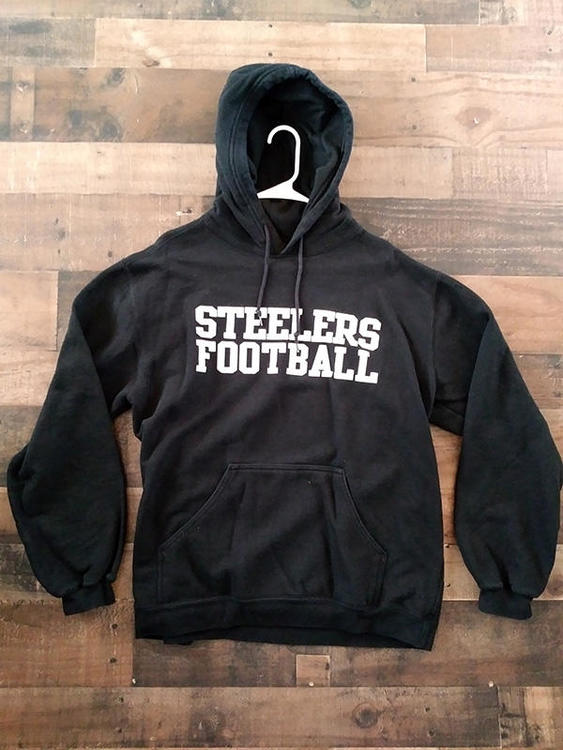 new product 71374 bf48e Reebok NFL Football PITTSBURGH STEELERS Black White Hoodie Pullover  Sweatshirt