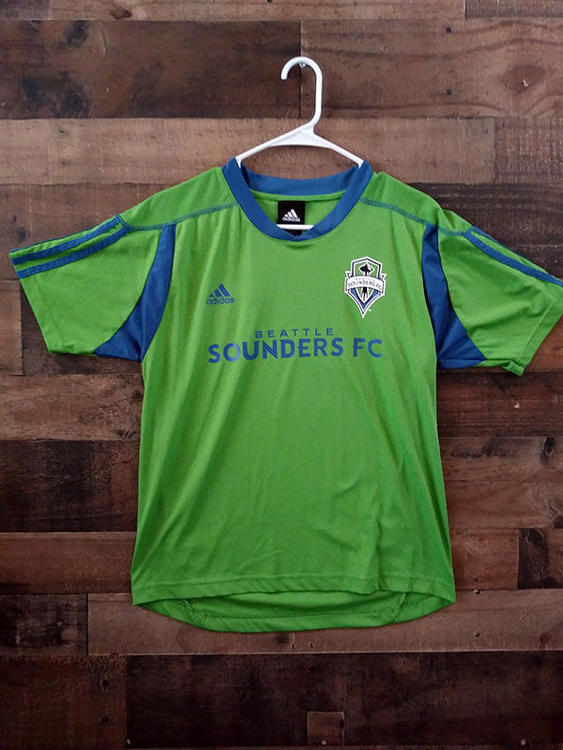 online store fc884 e1d8a Adidas MLS Soccer SEATTLE SOUNDERS FC Green Blue Polyester Team Jersey Shirt