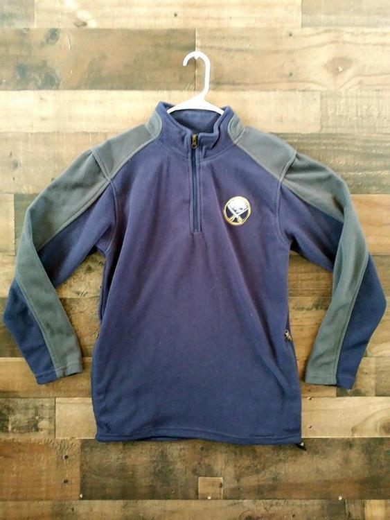 fbc272b3684 NHL Hockey BUFFALO SABRES Embroidered Charcoal Navy Blue Fleece Quarter  Zipper Pullover Jacket