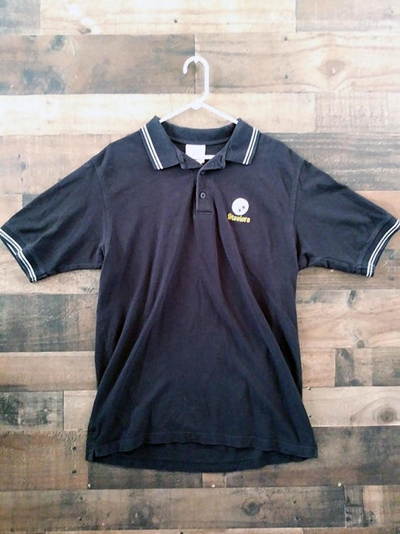 the latest 46903 a36e1 NFL Team Apparel PITTSBURGH STEELERS Football Black Embroidered Polo Shirt