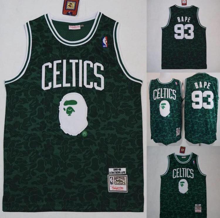 sale retailer 94176 a85d0 Bape X Celtics 93 Fully Stitched Jersey