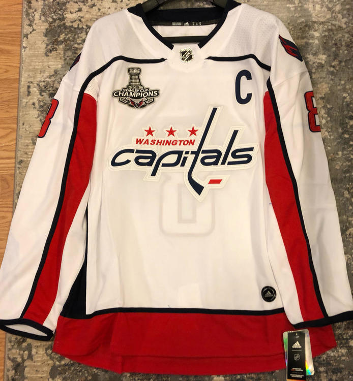 hot sales f65fc f722e ALEXANDER OVECHKIN #8 Washington Capitals Replica Game Jersey WITH 2018  STANLEY CUP CHAMPS PATCH