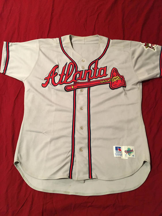 first rate 069a9 80cde Terry Clark #49 Signed Atlanta Braves Game Used MLB Baseball Jersey With  30th Parch