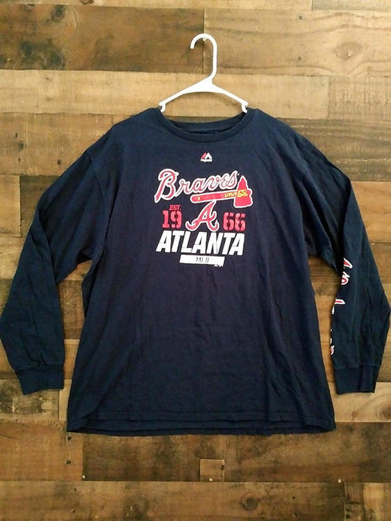 finest selection 6f43c e9ea1 Majestic MLB Baseball ATLANTA BRAVES Established 1966 Long Sleeve Team Shirt