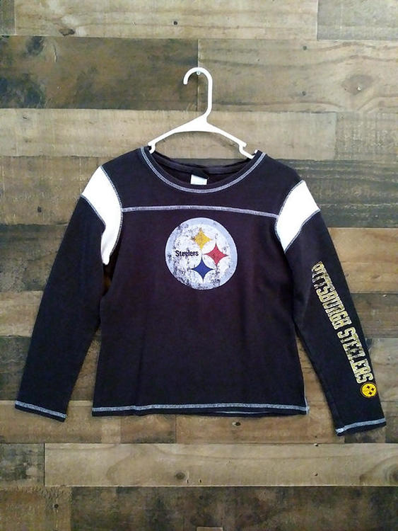 851fbaeb Girls Reebok NFL Football PITTSBURGH STEELERS Distressed Design Thermal  Long Sleeve Shirt