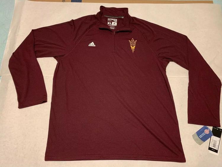 b262b4f6125f Adidas Arizona State Sun Devils Ultimate 1/4 Zip Tee 4712A sz XL X-LARGE  Maroon | Football Apparel | SidelineSwap