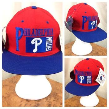 40. New! Vintage 90 s Philadelphia Phillies MLB Baseball Graphic Snap Back  Hat Red Blue · OurCityVintage ff24986eaf26