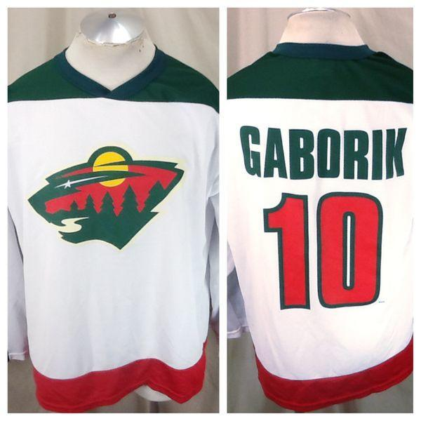 detailed look bf1a0 925c7 Vintage Minnesota Wild Marian Gaborik #10 (Large) NHL Hockey Polyester  Jersey White