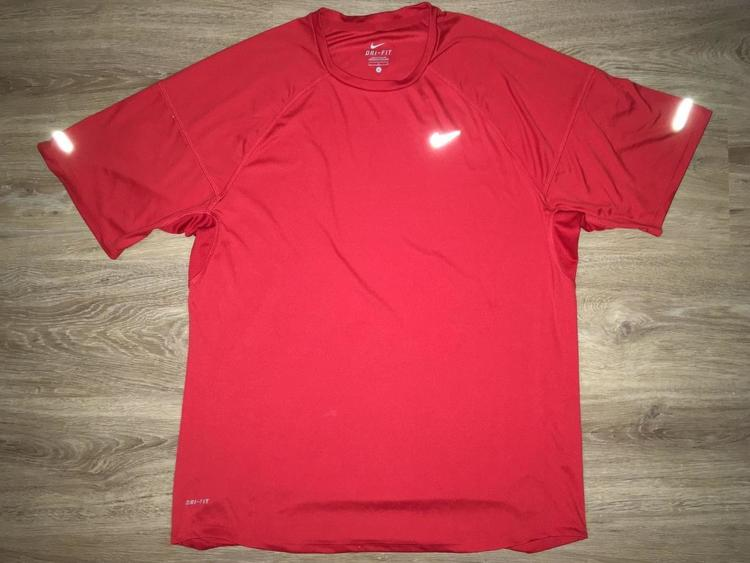 8ee68bbe8 Nike (Large) New Solid Red Reflective Dri-FIT Training Shirt ...