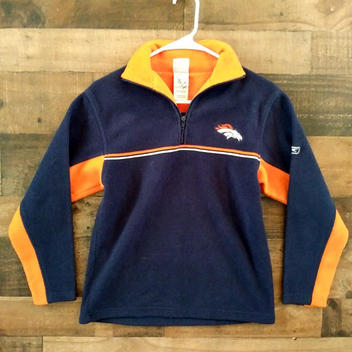 sports shoes a619e 112d0 Reebok NFL Football DENVER BRONCOS Youth Embroidered Fleece Pullover Jacket