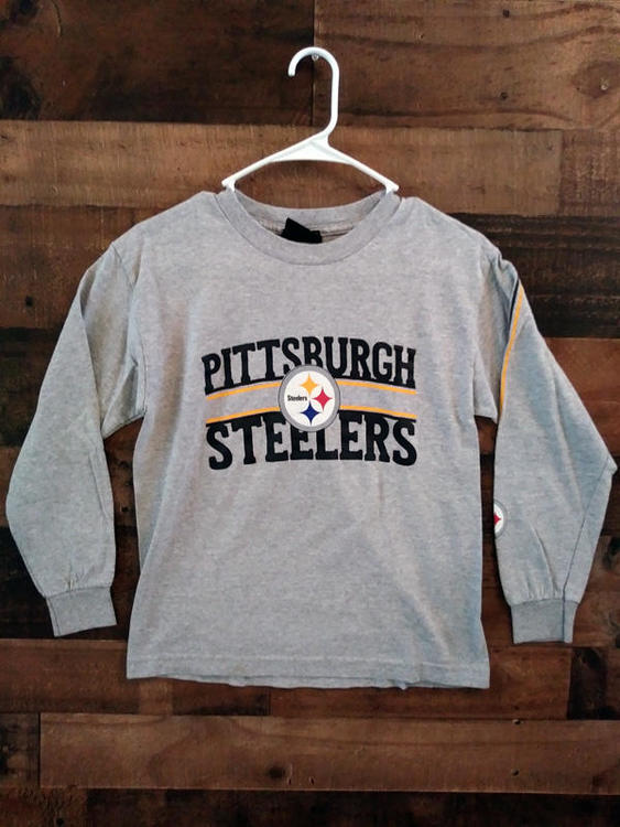 4bb167847 Reebok NFL PITTSBURGH STEELERS Grey Black Youth Long Sleeve Team Shirt