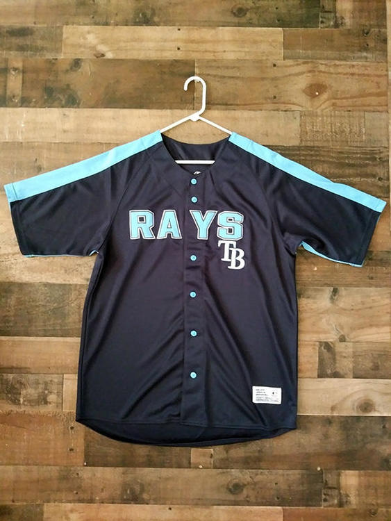 separation shoes 3abb3 73e68 New MLB Baseball TAMPA BAY RAYS Light Navy Blue Embroidered Button Jersey  (XL)