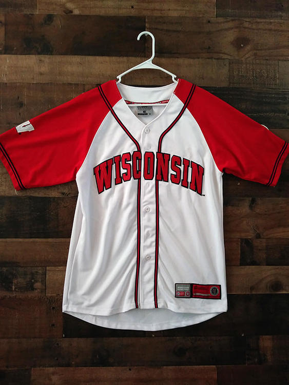 big sale 012c8 58f16 NCAA College UNIVERSITY WISCONSIN BADGERS Team Issue Embroidered Button  Baseball Jersey