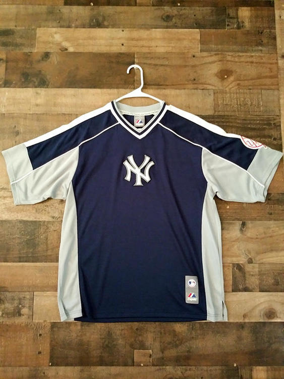 aa0a5b3689b New Majestic MLB Baseball NEW YORK YANKEES Polyester Embroidered V-Neck  Warmup Shirt. Related Items