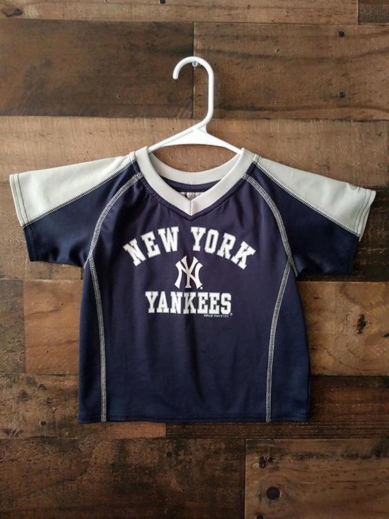 the latest a30f2 bc150 MLB Baseball NEW YORK YANKEES Navy Blue Grey Polyester Toddler Warmup Shirt