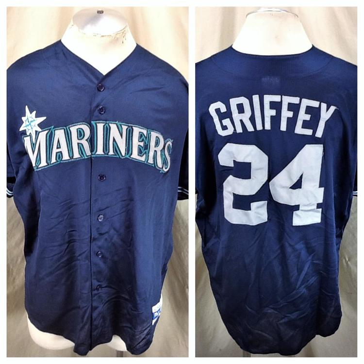official photos cc600 b49f2 Vintage Majestic Ken Griffey Jr #24 (2XL) Seattle Mariners Stitched Button  Up MLB Jersey