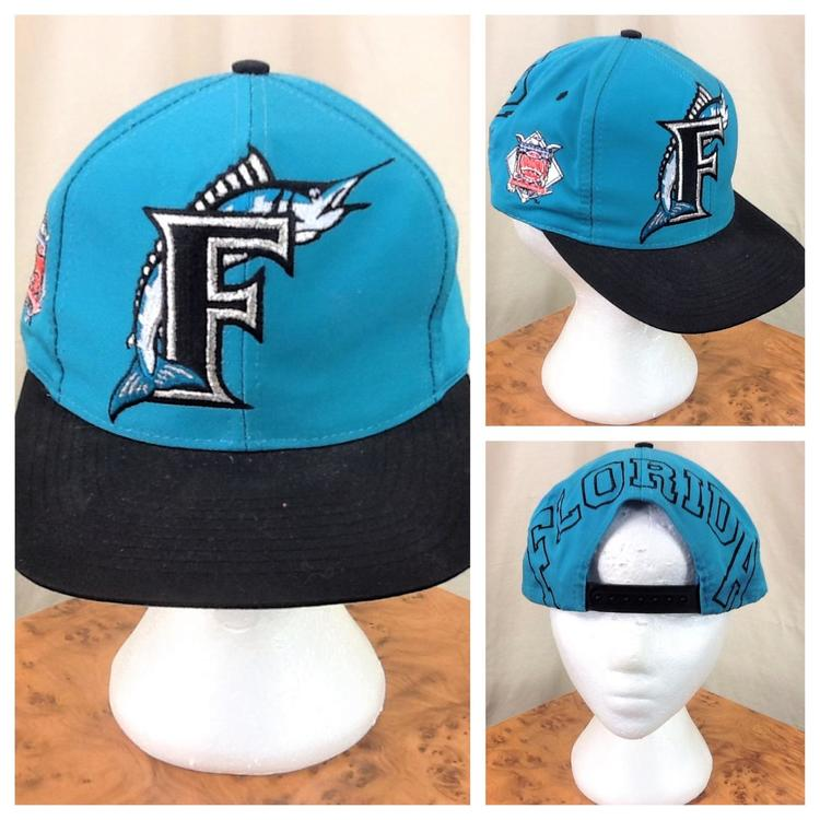 8b3dc16ca3a Vintage 90 s Florida Marlins MLB National League Retro Snap Back Hat ...