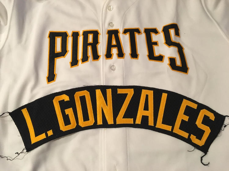 ff2d72357 Majestic L. Gonzalez Pittsburgh Pirates Team Issued MLB Jersey Nameplate  Tag