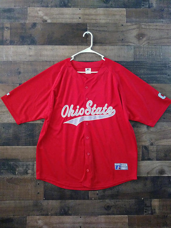 separation shoes 19132 4cf66 New NCAA College OSU OHIO STATE UNIVERSITY BUCKEYES Embroidered Button  Baseball Jersey
