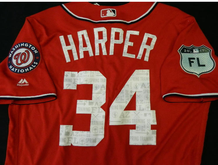 reputable site 72c0e 00689 2017 Bryce Harper Washington Nationals (Phillies) Majestic Spring Training  MLB Baseball Jersey