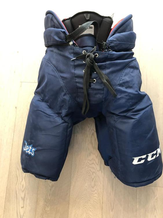 Used CCM HP45X Pants Pro Stock Hockey Pants Navy XL+1 Winnipeg Jets (107)