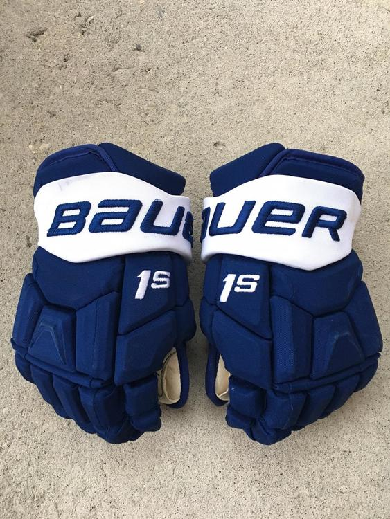 PRO STOCK WILLIAM NYLANDER Bauer Supreme 1S hockey Gloves Senior TORONTO  MAPLE LEAFS