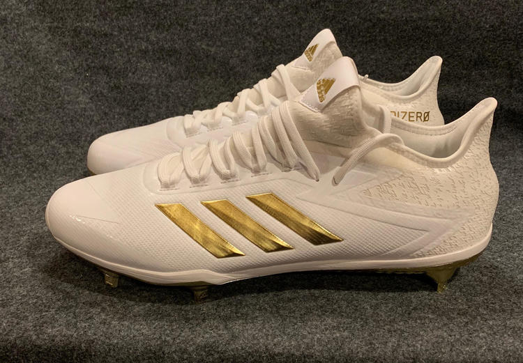 b667637f539 Adidas NEW Adizero Afterburner 4 BY3312 Cleats White Gold Size 13.5 Lot For  2 Pairs BUNDLE