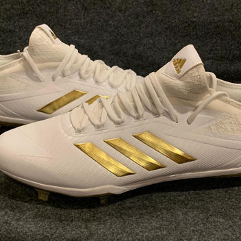 74d6e7d68 NEW Adidas Adizero Afterburner 4 BY3312 Baseball Cleats White Gold Size 13.5  Lot For 2 Pairs BUNDLE