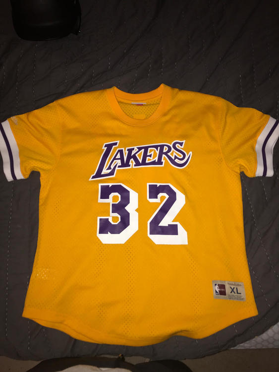 hot sale online 53608 e19af Mitchell And Ness Magic Johnson Lakers Baseball Jersey