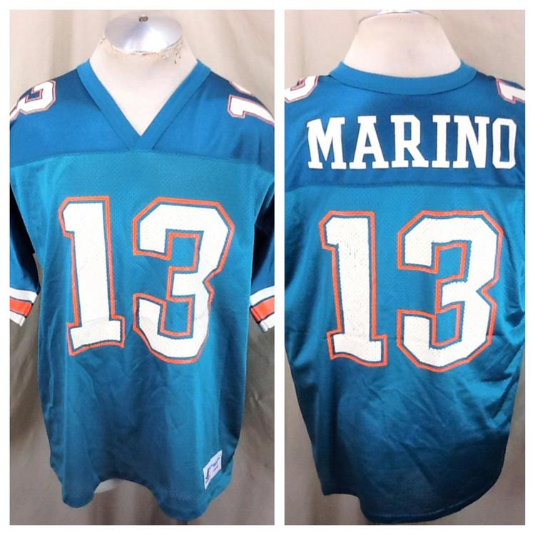 outlet store d5e35 5c0cf Vintage 90's Dan Marino #13 (Large) Miami Dolphins Football Jersey Aqua  Green