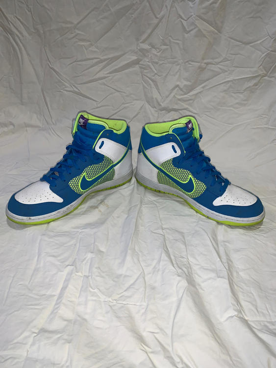 save off 44363 abd4f Air Jordan Nike 1 s Size 10 Blue And Neon Green   Footwear Turfs, Indoor,  Sneakers   Training   SidelineSwap